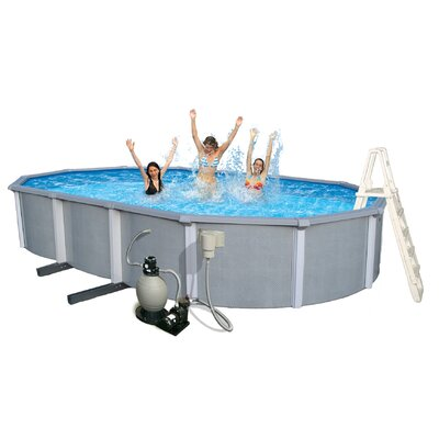 "Swim Time Zanzibar Oval 54"" Deep 8-in Top Rail Pool Package"