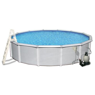 "Swim Time Samoan Round 52"" Deep 8"" Top Rail Metal Wall Swimming Pool Package"