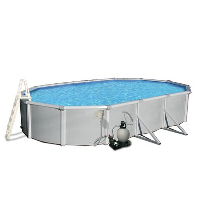 "Swim Time Samoan Oval 52"" Deep 8"" Top Rail Metal Wall Swimming Pool Package"