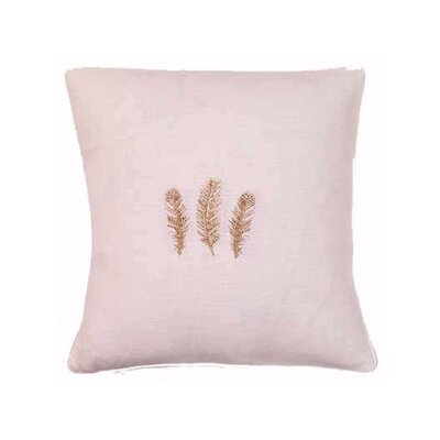 Feathers Linen / Cotton Blend Throw Pillow