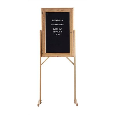 Marsh Double Pedestal Enclosed Directory Boards - Oak Frame