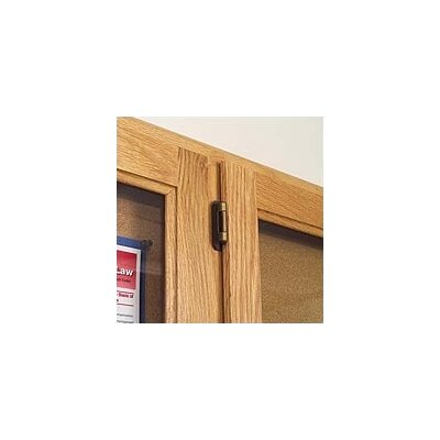 Marsh Double Pedestal Enclosed Bulletin Boards - Oak Frame