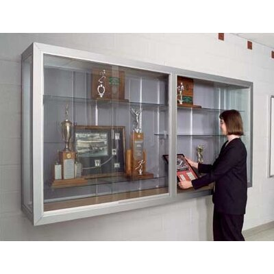 Marsh Series 50 Wall-Mounted Sliding Glass Door Trophy Cases - Burlap Fabric (with Lighting)