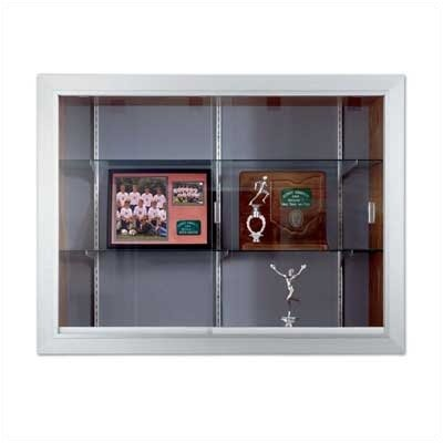 Marsh Series 60 Recessed Sliding Glass Door Trophy Cases - Natural Cork / Wood Veneer, With Lighting