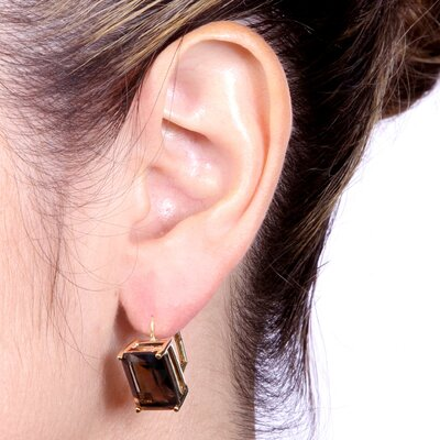 Palm Beach Jewelry Gold Plated Smoky Quartz Earrings