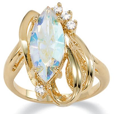 Gold Plated Aurora Borealis Crystal Ring