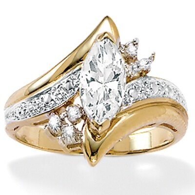 Gold Plated Marquise Cubic Zirconia Ring