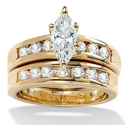 Palm Beach Jewelry Gold Plated Marquise-Cut and Round Cubic Zirconia Wedding Set