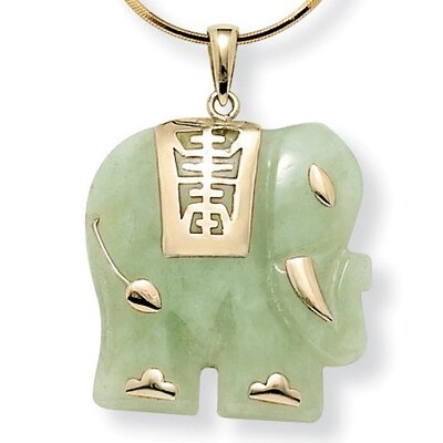 Palm Beach Jewelry 14k Gold Jade Elephant Pendant