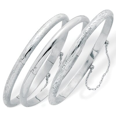 Palm Beach Jewelry Sterling Silver Bangle Bracelets (Set of 3)