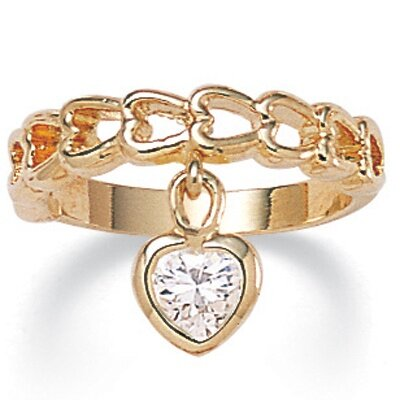 Palm Beach Jewelry Gold Plated Cubic Zirconia Heart Ring