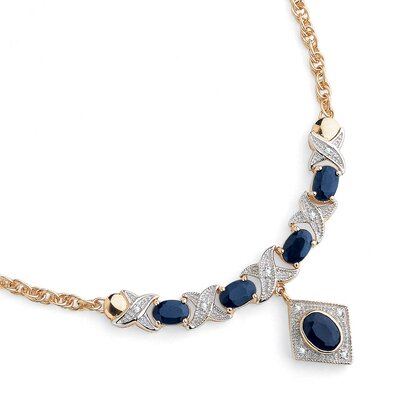 Sterling Silver Sapphire/Diamond Accent Necklace