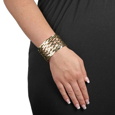 "Palm Beach Jewelry 7.5"" Goldtone Lattice Cuff Bracelet"