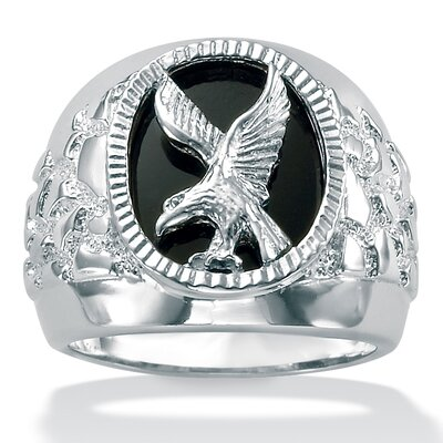 Sterling Silver Men's Onyx Eagle Ring