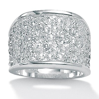Palm Beach Jewelry Silvertone Diamond Ultra Cubic Zirconia Ring