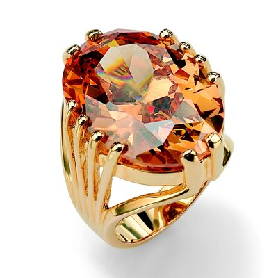 Gold Plated Champagne Cubic Zirconia Ring