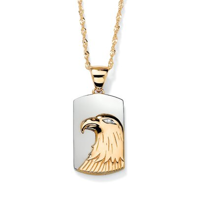 18k Gold/Silver Men's Diamond Accent Eagle Pendant