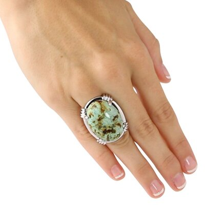 Palm Beach Jewelry Silvertone Oval-Shaped Turquoise Ring