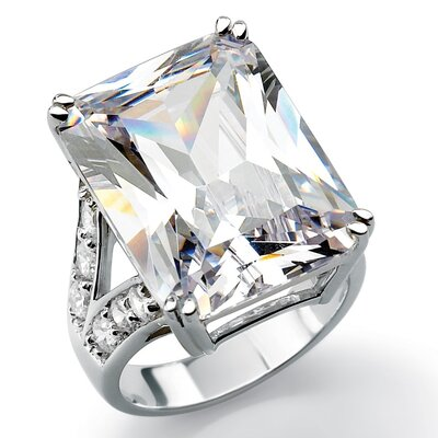 Platinum/Silver Emerald-Cut Cubic Zirconia Ring