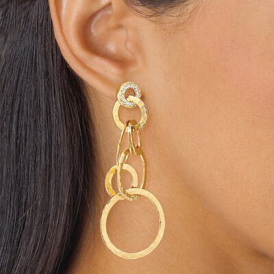 Gold Plated Cubic Zirconia Hammered Style Pierced Earrings