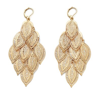 Palm Beach Jewelry Goldtone Filigree Drop Pierced Earrings