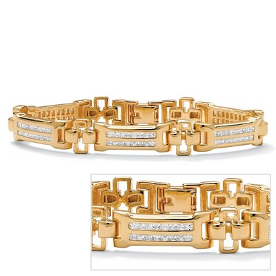 Palm Beach Jewelry Gold Plated Men's Channel Set Cubic Zirconia Bracelet
