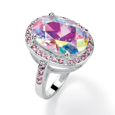 Sterling Silver Aurora Borealis and Pink Cubic Zirconia Ring