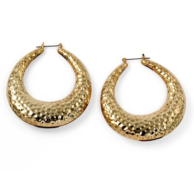 Goldtone Hammered Style Hoop Earrings