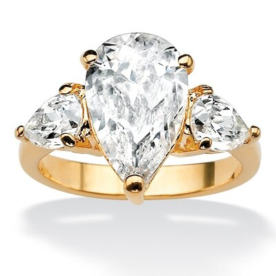 18k Gold/Silver Pear-Shaped Cubic Zirconia Ring