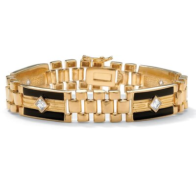 Gold Plated Men's Onyx/Cubic Zirconia Bracelet