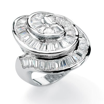 Palm Beach Jewelry Silvertone Cubic Zirconia Concentric Ring