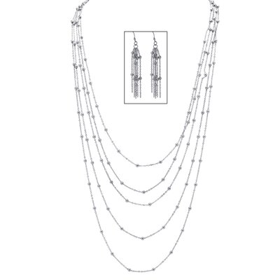 Silvertone Multi-Chain Beaded Station Necklace and Pierced Earring Set