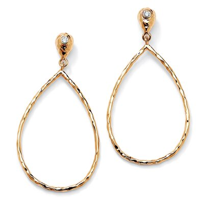 Palm Beach Jewelry Gold Plated Cubic Zirconia Hoop Drop Pierced Earrings