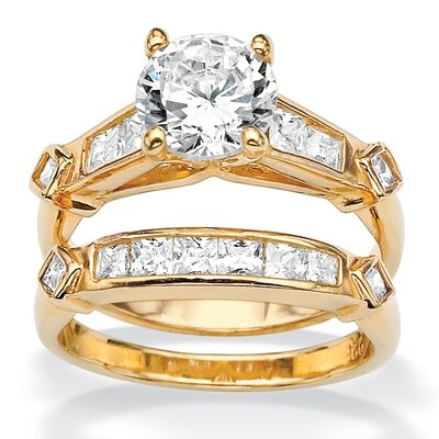 18k Gold/Silver 2 Piece Diamond Ultra Cubic Zirconia Ring Set