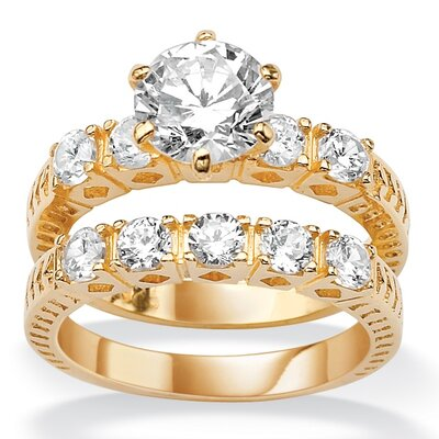 Gold Plated Round Cubic Zirconia Wedding Ring Set