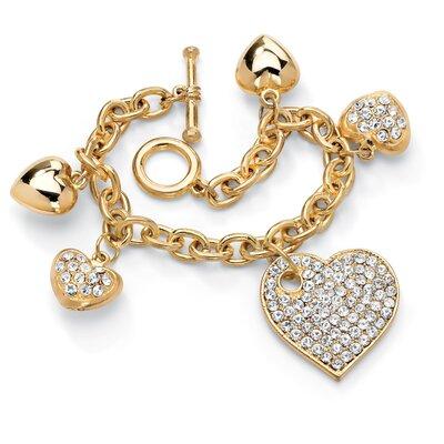 Goldtone Crystal Multi-Heart Charm Bracelet
