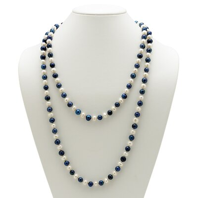 Palm Beach Jewelry Navy Blue and White Cultured Pearl Necklace