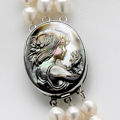 Palm Beach Jewelry Silvertone Cultured Freshwater Pearl and Black Mother-of-Pearl Necklace