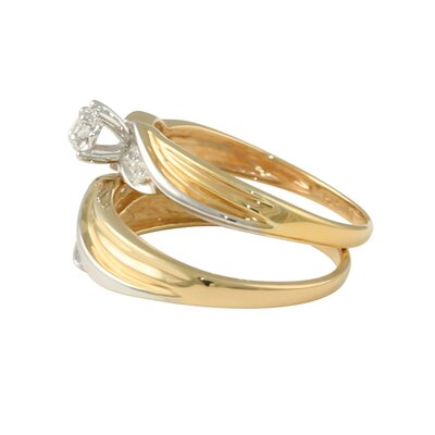Palm Beach Jewelry 18k Gold/Silver Tutone Cubic Zirconia Wedding Ring Set