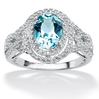Platinum/Silver Blue Topaz and Diamond Accent Ring