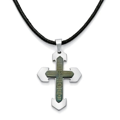Palm Beach Jewelry Stainless Steel Modern English Lord's Prayer Cross