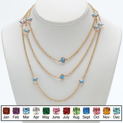 Palm Beach Jewelry Goldtone Princess Cut Birthstone Necklace
