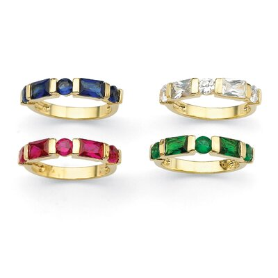Palm Beach Jewelry Gold Plated Channel-Set Birthstone Ring