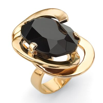 Gold Plated Black Glass Abstract Ring