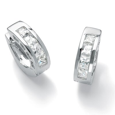 Silvertone Cubic Zirconia Huggie Hoop Pierced Earrings