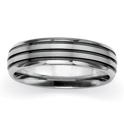 Palm Beach Jewelry Titanium/Black Ruthenium Brushed Wedding Band