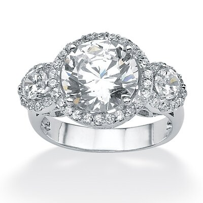 Palm Beach Jewelry Platinum/Silver Round Cubic Zirconia Anniversary Ring