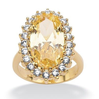 Palm Beach Jewelry Gold Plated Canary Yellow and White Cubic Zirconia Ring