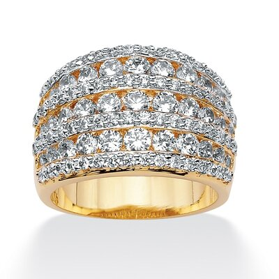 14k Gold Plated Cubic Zirconia Multi-Row Ring