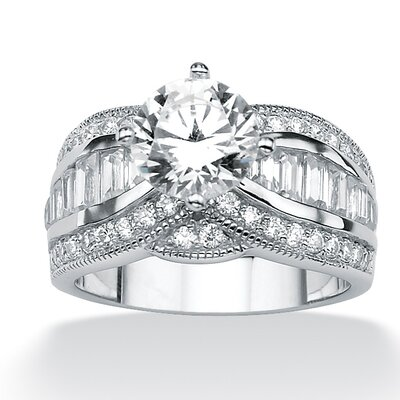 Platinum/Silver Round Emerald-Cut and Baguette Cubic Zirconia Ring